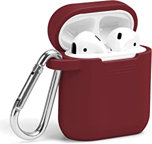 Airpods Case, GMYLE Silicone Protective Shockproof Wireless Charging Airpods Earbuds Case Cover Skin with Keychain kit Set Compatible for Apple AirPods 2 & 1 – Burgundy