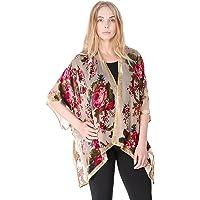 BYOS Boho Stylish Semi Sheer Mesh Open Front Burnout Floral & Paisley Print Velvet Kimono Cardigan Robe (Red Floral W/Golden Velvet Border)