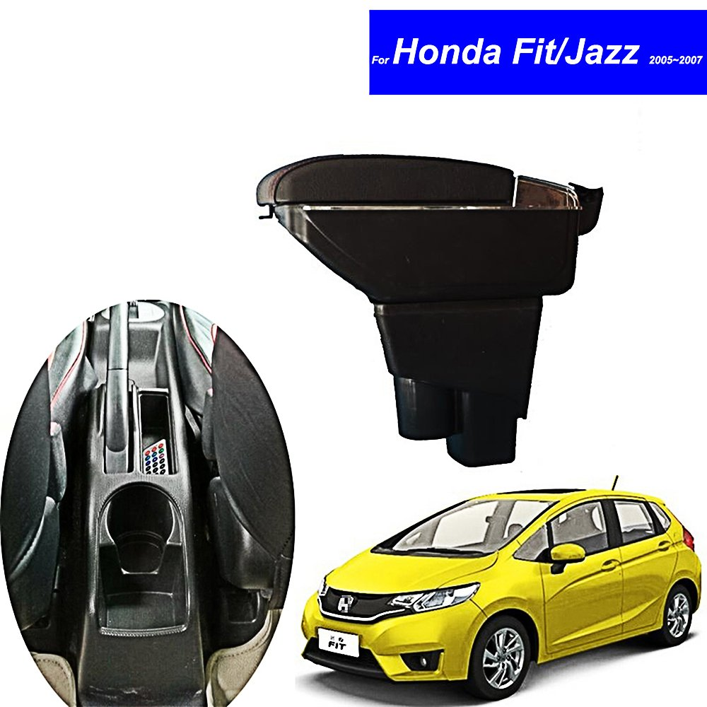 SZSS-CAR Leather Car Center Console Armrest Box for Honda Fit Jazz Hatchback 2005 2006 2007 Armrests Storage Box (Black) Shenzhen Letian
