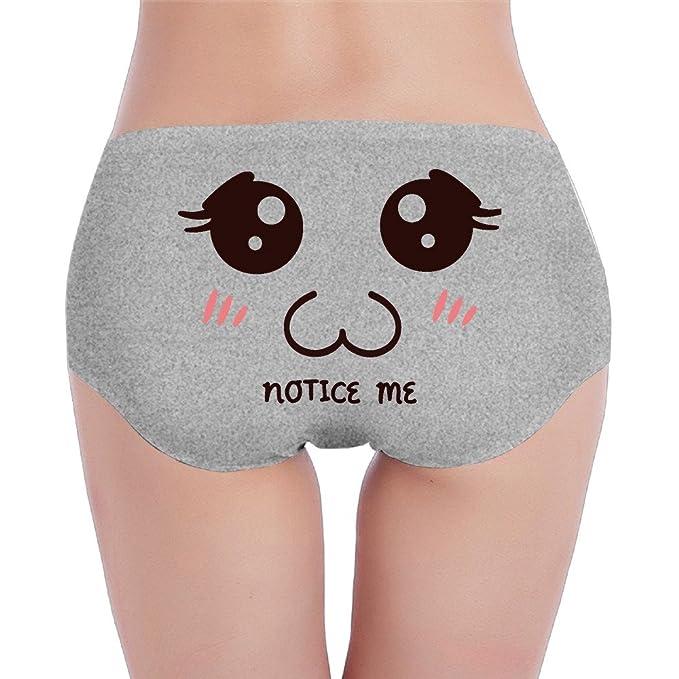 Kawaii cara Emoji Notice Me ropa interior mujeres de cintura baja elástico Brief braguitas - Gris - S: Amazon.es: Ropa y accesorios