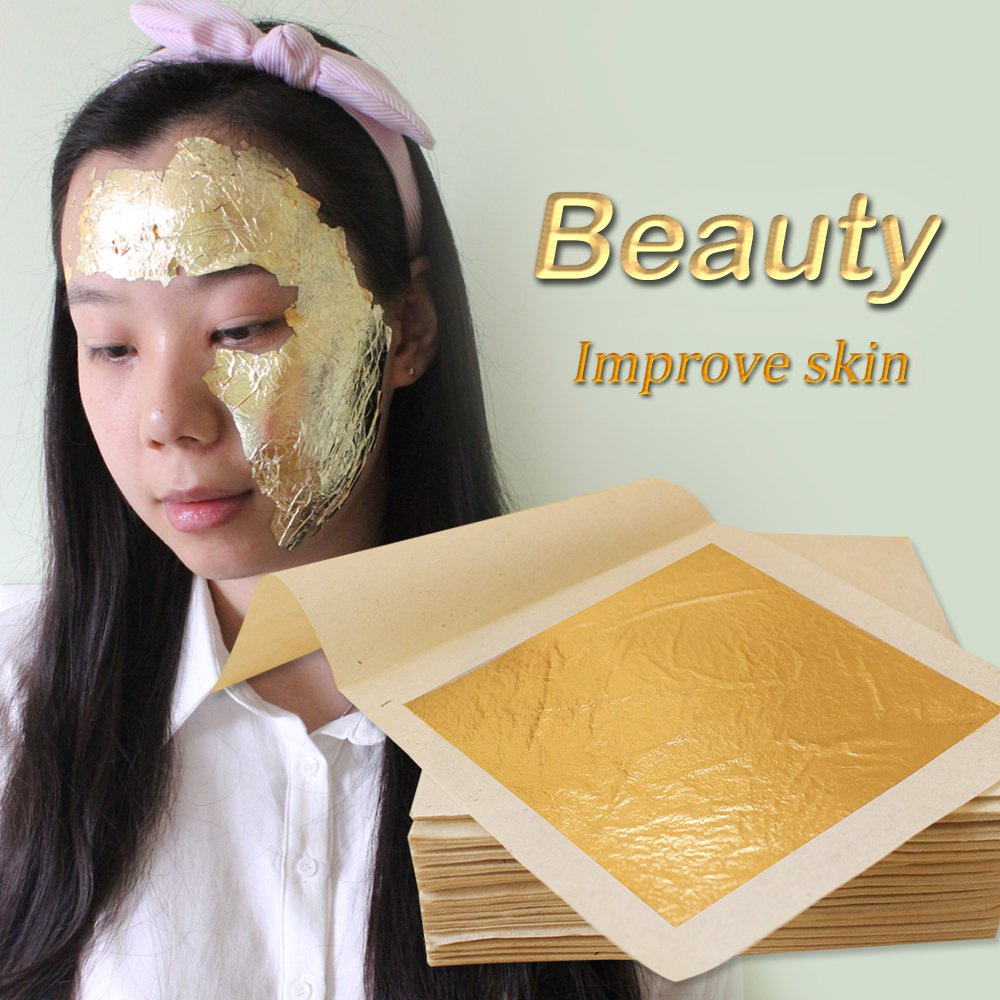 Edible Gold Leaf Sheets 4.33 x 4.33 cm 24K Pure Genuine Facial Edible Gold Leaf for Cooking, Cakes & Chocolates, Decoration, Health & Spa (1000 Sheets) by YongBo (Image #2)