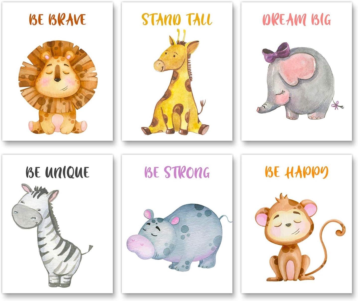"Baby Nursery Wall Decor - Lion, Giraffe, Elephant, Monkey, Zebra, Hippo with Inspirational Quotes for Boy Girl Kids - Jungle Safari Animal Unframed Wall Art -Set of 6 Posters(Unframed,8""X10"")"