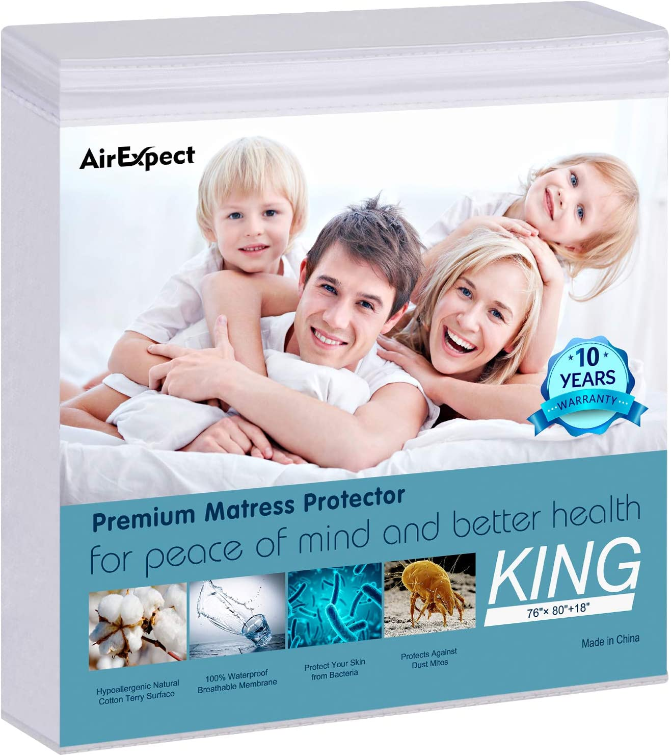 "Waterproof Mattress Protector King Size - AirExpect 100% Organic Cotton Hypoallergenic Breathable Mattress Pad Cover, 18"" Deep Pocket , Vinyl Free - 76"" x 80"""