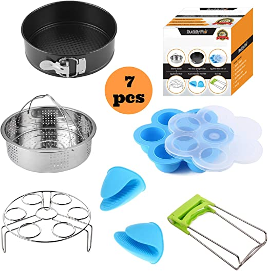 Silicone Egg Bites Mold 8 Quart Electric Pressure Cookers 6 Egg Rack Trivet Mitts and More Instant Pot Accessories Set Compatible With 5 Stainless Steel Steamer Basket Non-Stick Springform Pan