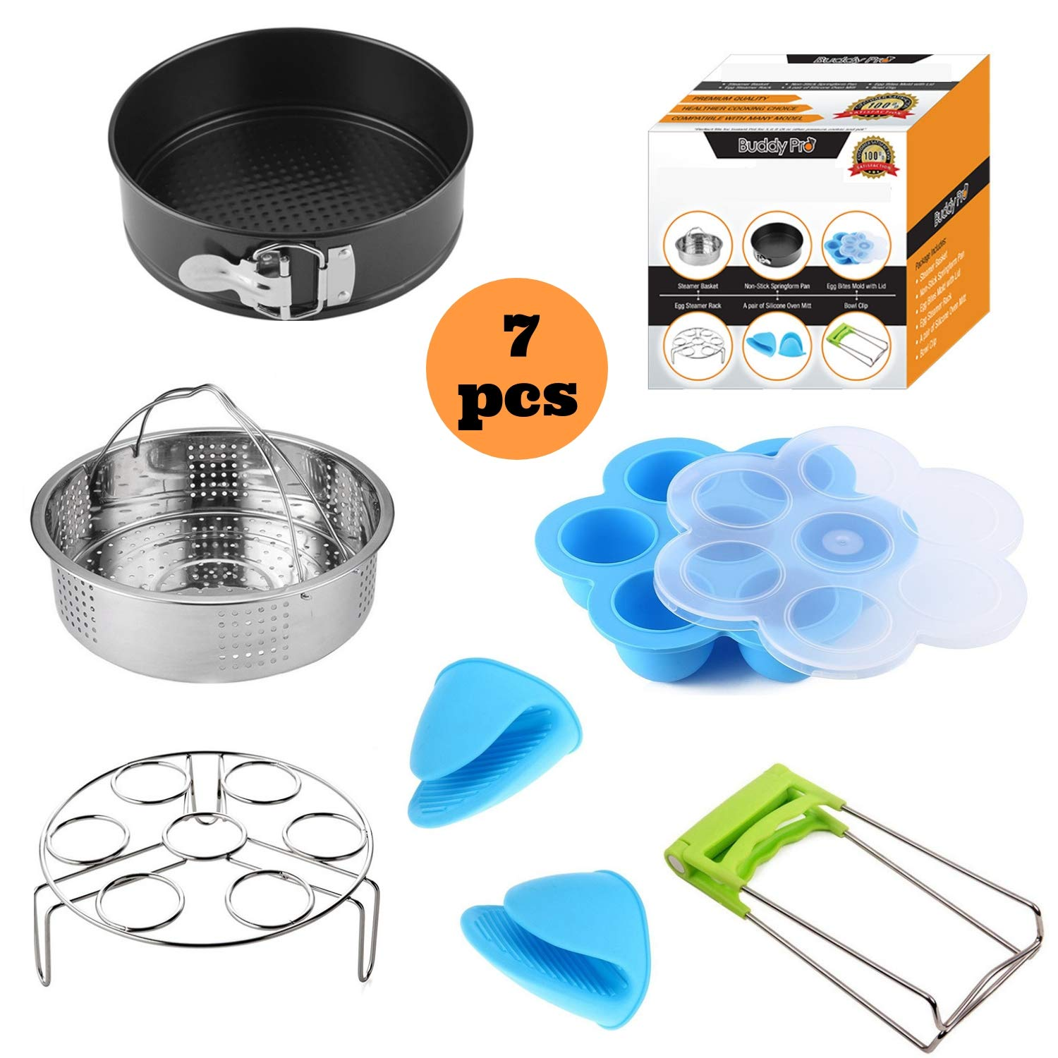 Buddy Pro Pressure Cooker Accessories Set Compatible with Instant Pot 5,6,8 QT,Compatible Instapot Accessory Kit,Steamer Basket,Silicone Egg Bite Mold,Non Stick SpringForm Pan,EggStamer Rack,Oven Mitt by Buddy Pro