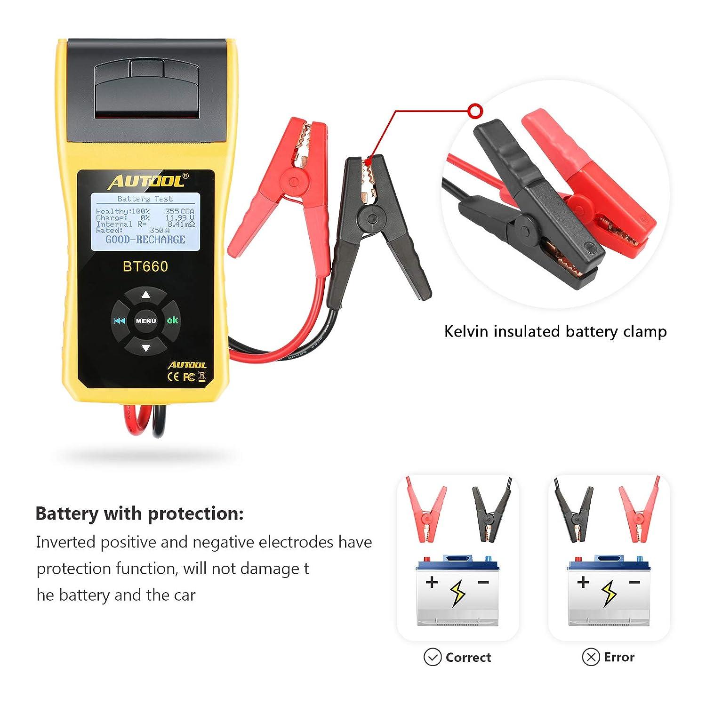 Autool BT660 12 V//24 V analizzatore di batteria tester di carico con stampante per regular Allagato CCA 100-3000