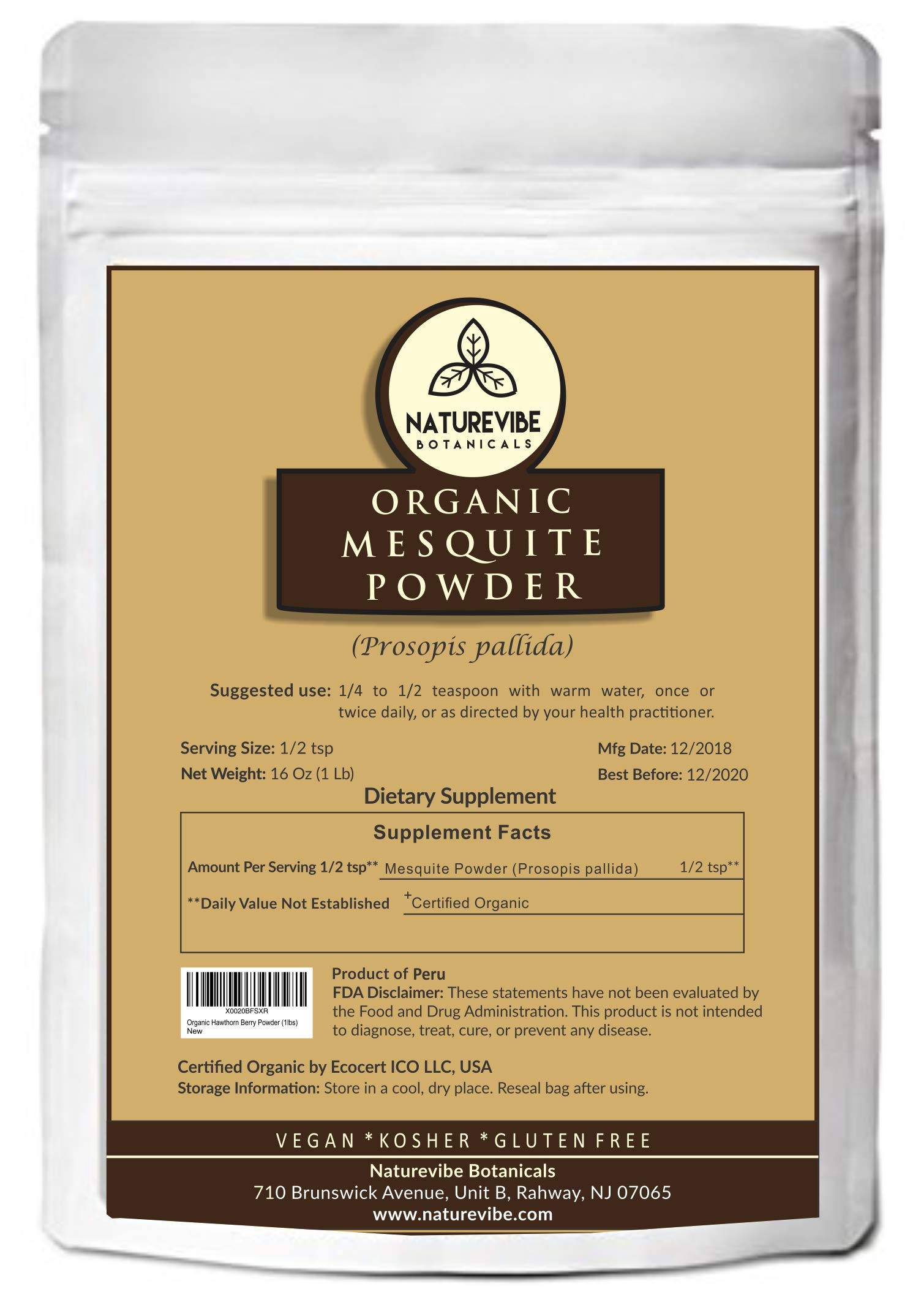 Naturevibe Botanicals Organic Mesquite Powder (1lbs), Prosopis pallida | Gluten Free & Non GMO | Rich in Protein | Helps Boost Immune System.… by Naturevibe Botanicals (Image #1)