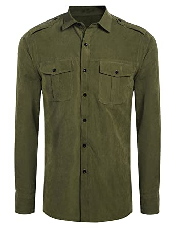 Mens Turn Down Collar Long Sleeve Faux Suede Solid Button Down ...