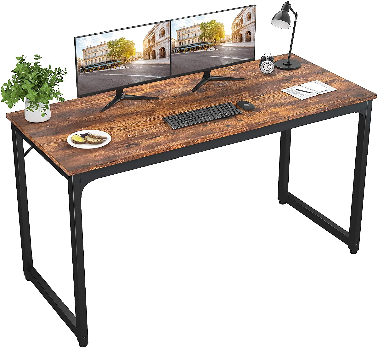 """Foxemart 55 Inch Computer Desk Modern Sturdy Office Desks 55"""" PC Laptop Notebook Study Writing Table for Home Office Workstation, Rustic Brown"""