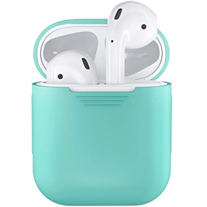 low priced 3253d fe429 PodSkinz AirPods Case Protective Silicone Cover and Skin Compatible with  Apple Airpods 1 & AirPods 2 [Front LED Not Visible] (Diamond Blue)