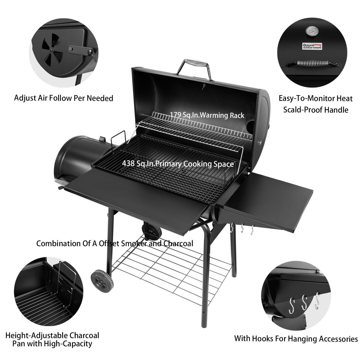 Royal Gourmet BBQ Charcoal Grill and Offset Smoker, 30'' L, 800 Square Inch, Outdoor for Camping, Black by Royal Gourmet (Image #3)
