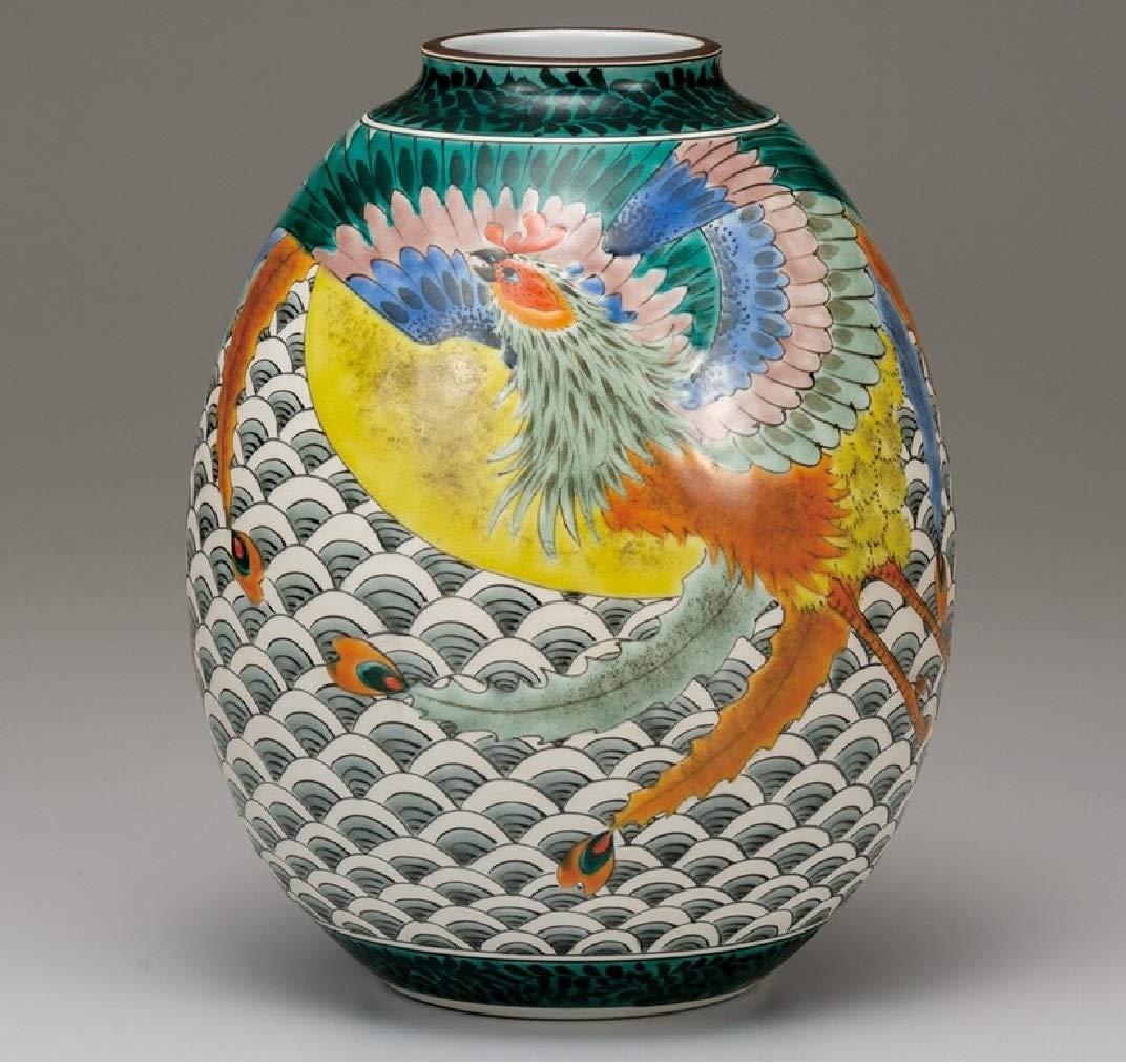 九谷焼 8.5号花瓶 青海波に鳳凰 B07SSDYN1M