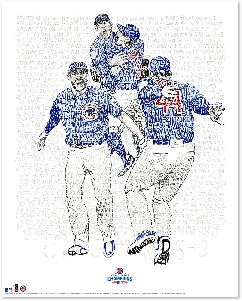 2016 Chicago Cubs Word Art - Handwritten Every Date Score from 2016-16x20 - Cubs Poster - Chicago Decor