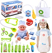 Joyjoz Kids Doctor Kit with Electronic Stethoscope, Pretend Play Medical Kit Set for Girls Kids Toddler Doctor Costume,, Sch