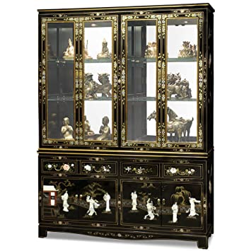 China Furniture Online Black Lacquer China Cabinet, 60 Inches Mother Pearl  Courtesans Inlay Black