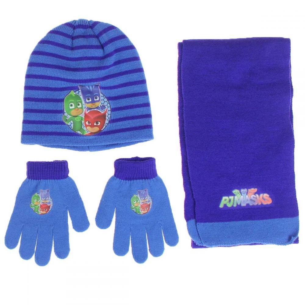 Completo sciarpa cappello e guanti Bambino PJ MASKS Originale Tg.U. Colori Azzurro/Blu Taglia Taglia Unica