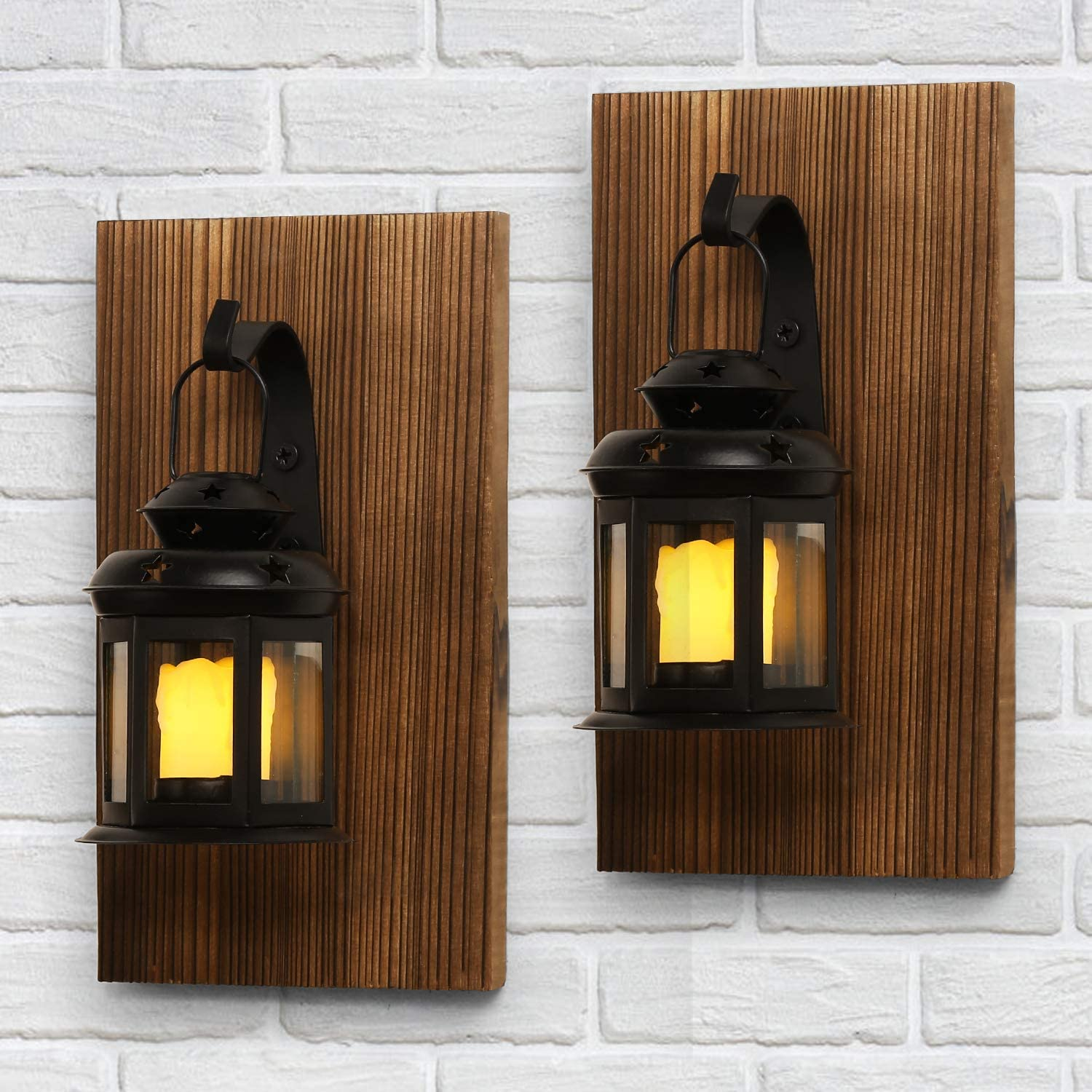 DOCMON Rustic Wall Sconce, Wall Mounted Hanging Farmhouse Lantern Sconces Set of Two with Electric Fake Candle for Living Room, Bathroom, Dining Room Decoration