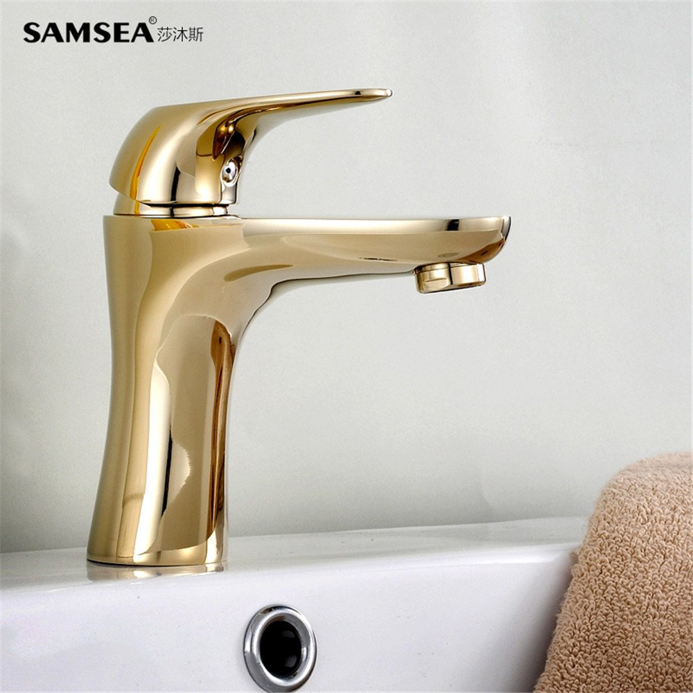 Bijjaladeva Antique Bathroom Sink Vessel Faucet Basin Mixer Tap The height of the golden Bathroom Cabinet basin surface basin art basin single hole full copper cold water faucet