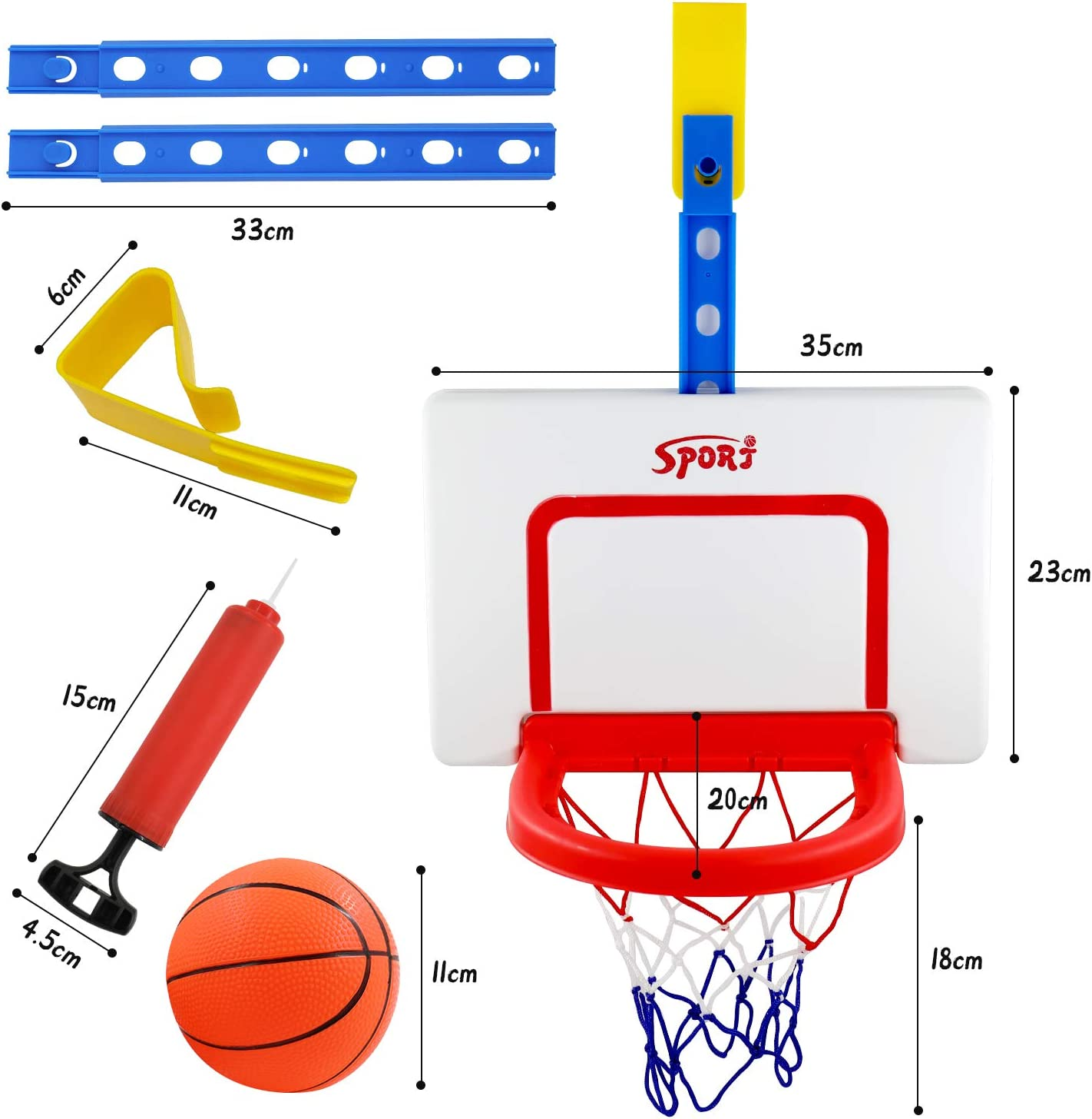 Einstellbar Basketballkorb f/ürs Zimmer mit Ball und B/älle Pumpe Hyselene Basketballkorb Kinder Indoor Outdoor Jahre Alt Sportspielzeug f/ür Jungen M/ädchen 3