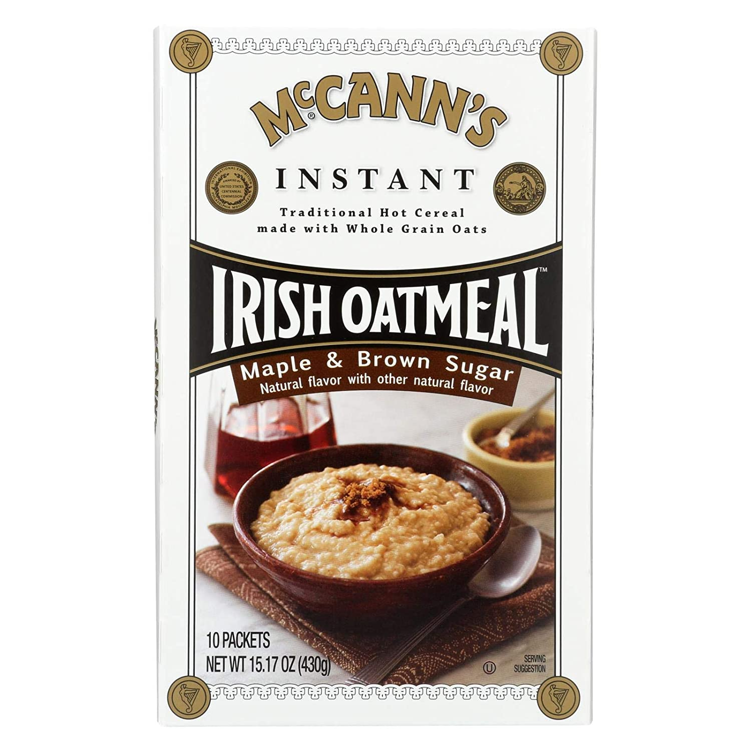 McCann's Instant Irish Oatmeal, Maple and Brown Sugar Flavor, 10 Count (Pack of 12)