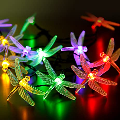 cylapex led solar string lights outdoor multicolor dragonfly 20 leds 16feet waterproof with 8 modes - Outdoor Solar Christmas Lights