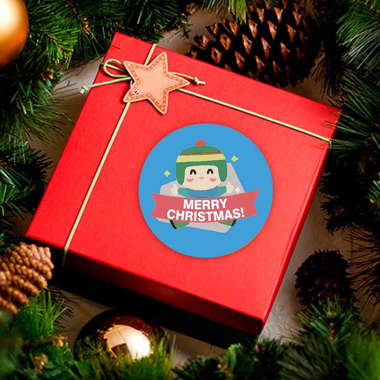 B Rameng 500PC Favores navide/ños Pegatinas,Decoraciones navide/ñas de Navidad Rollo Suministros para Fiestas Tema de Navidad Insignia Sello Regalo Etiqueta multifunci/ón DIY
