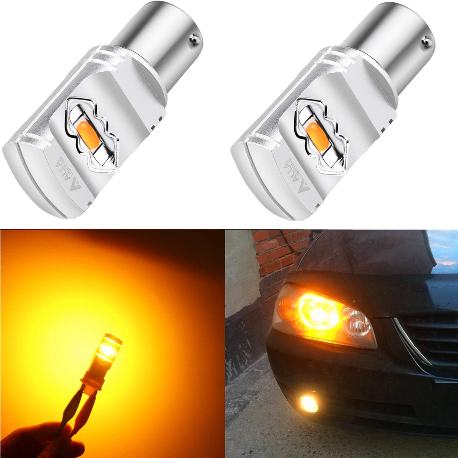 Alla Lighting 3800lm BA15S 1156 Amber Yellow LED Bulbs Xtreme Super Bright P21W 7506 1156 LED Bulb High Power ETI 56-SMD 12V LED 1156 Bulb for Car Truck Motorcycle RV Turn Signal Blinker Lights (2pcs)