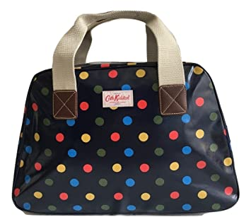 Cath Kidston overnight travel weekend bag oilcloth button spot blue ... 2fe9cba93b752