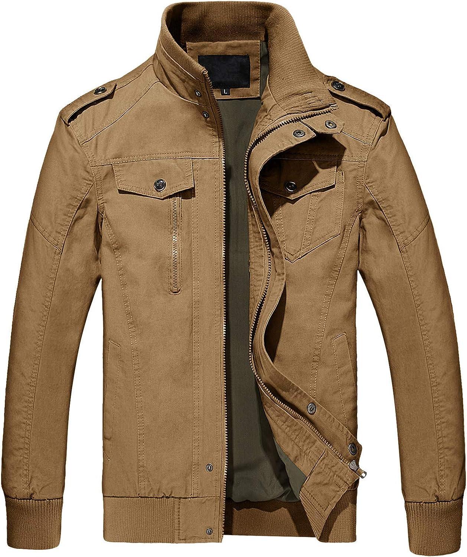TACVASEN Herren Übergangsjacke Baumwolle Leichte Fliegerjacke US Army Bomberjacke Militär Feldjacke Multi Taschen Khaki