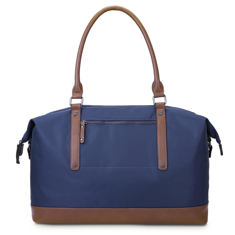 ECOSUSI Duffel Bag Weekender Overnight Bag Large Travel Tote Shoulder Bag with Trolley Sleeve for Men & Women, Blue