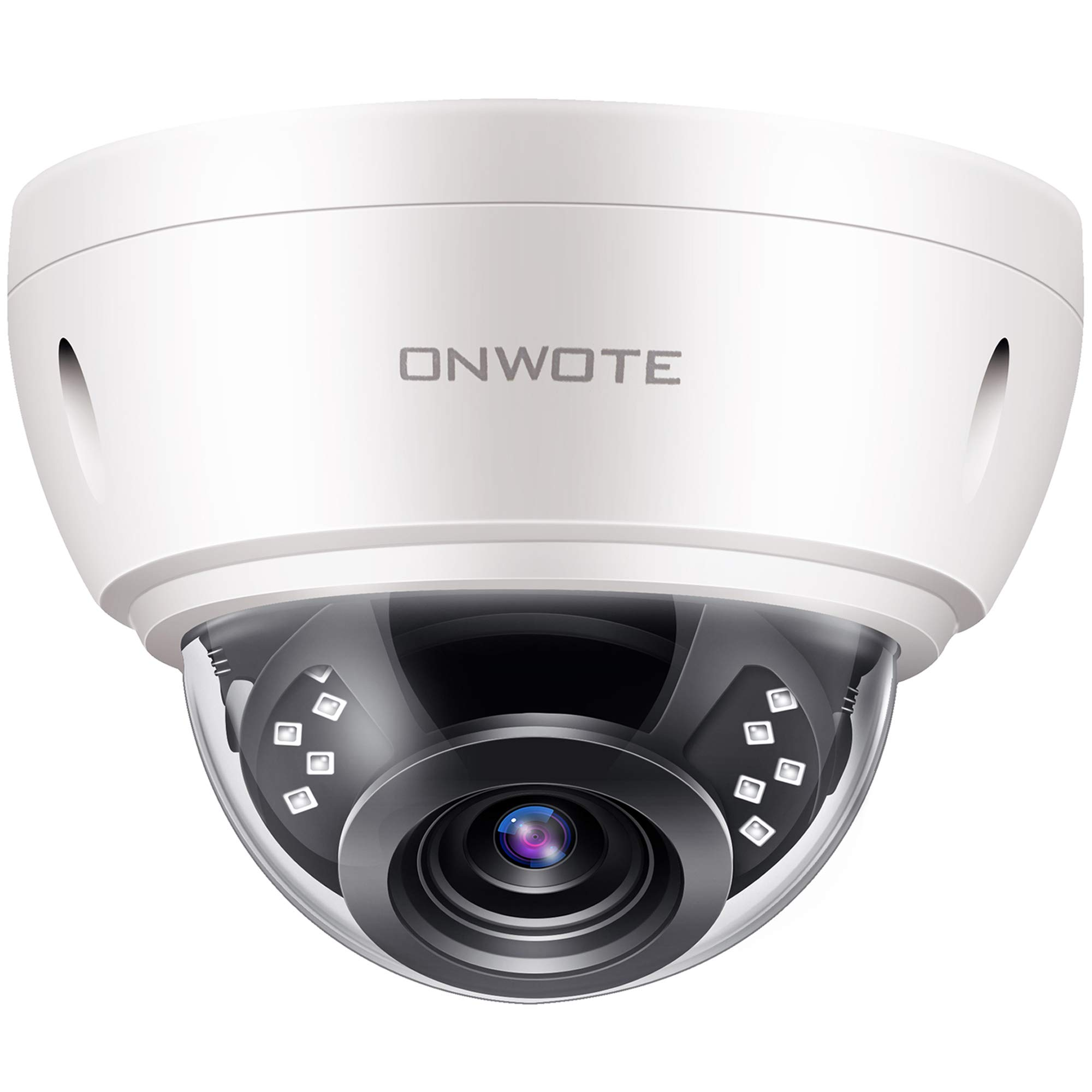 【Audio】 ONWOTE 5MP HD IP POE Security Camera Outdoor Dome Onvif, 5 Megapixels 2592x 1944P Super HD Vandalproof Camera, 100ft IR, 90° Viewing Angle, IP66 Waterproof, Remote Access, Motion Alert