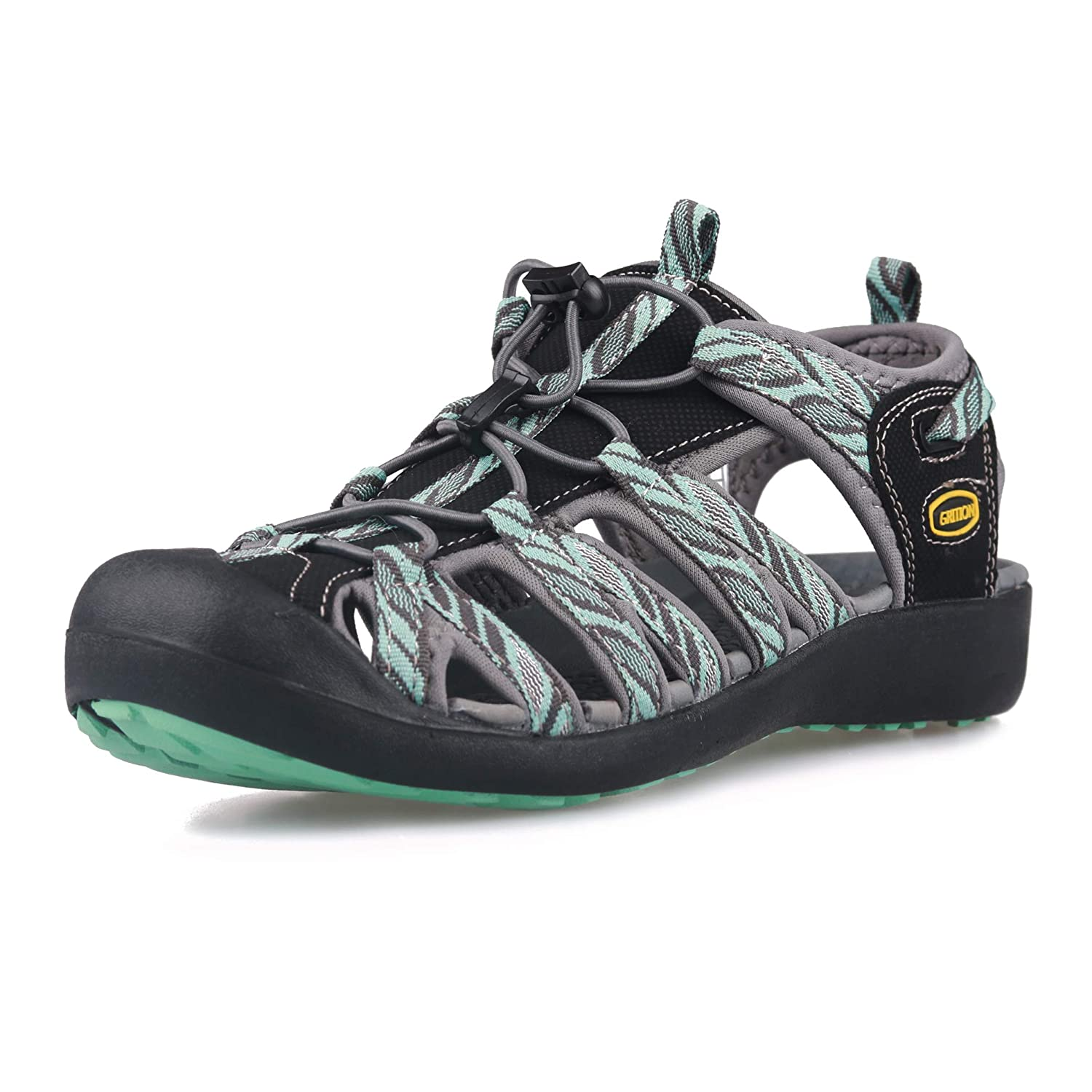 ac1c0d60248 GRITION Women Athletic Hiking Sandals Closed Toe Water Shoes Adventure Outdoor  Sport Trail Summer  Amazon.co.uk  Shoes   Bags