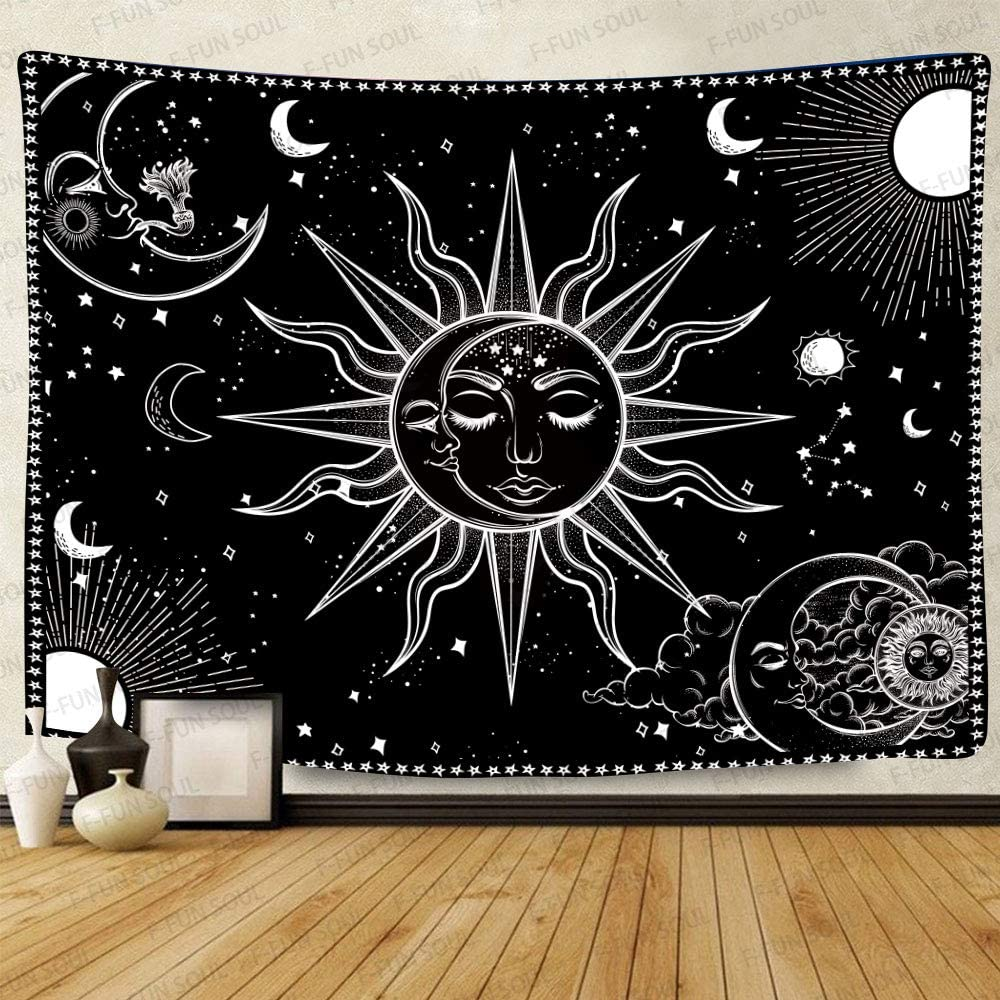 F-FUN SOUL Sun and Moon Tapestry, Large 80x60inches Soft Cotton, Mandala Black and White Starry Sky Art Wall Hanging Tapestries for Living Room Bedroom Decor Banner GTZYFS464