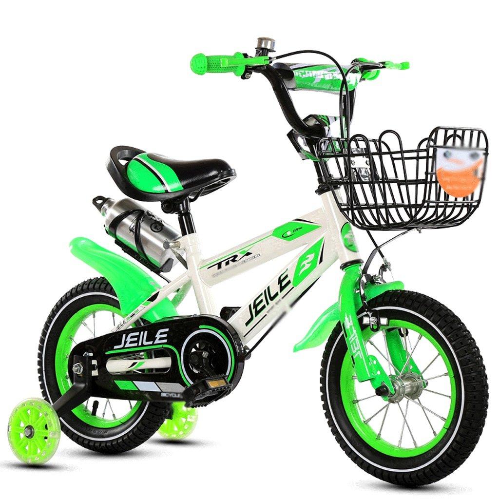 自転車 子供の自転車点滅車輪青いプラスチック製のバスケット12/14/16/18インチ男性と女性3-8歳の自転車トレーニングホイール (サイズ さいず : 18 inch) B07DZRK34Q 18 inch 18 inch