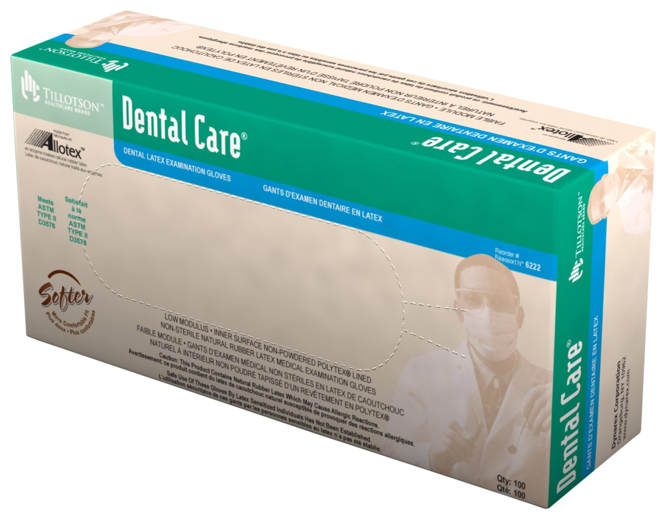 Amazon.com: Tillotson Dental Care Latex Exam Gloves, Large, 100 Count:  Health & Personal Care