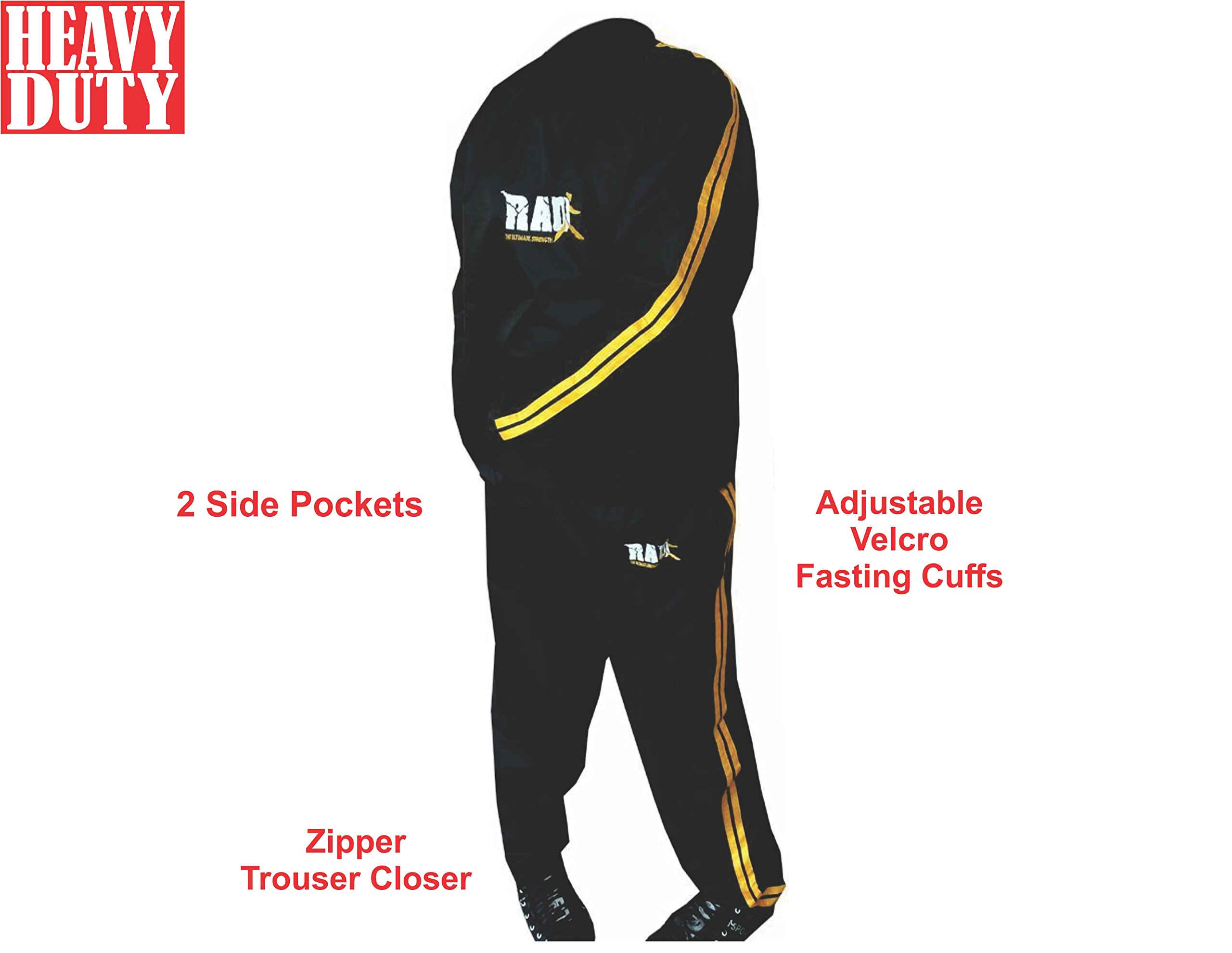 RAD Sweat Suit Sauna Exercise Tracksuit Fitness Weight Loss Slimming Boxing Gym Belt (Gold, 5XL)