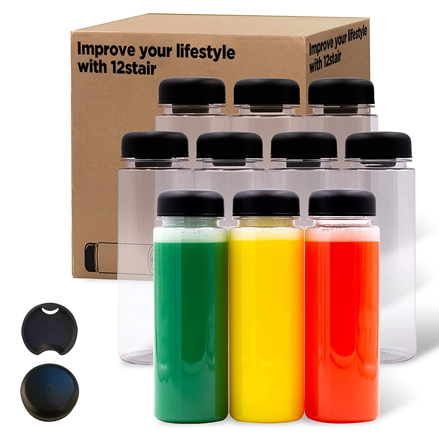 12 STAIR -10pack 16oz plastic bottles with caps juice bottles for juicing reusable juice bottles, plastic smoothie jars with lids, other beverages Bottles drink container with lids dishwasher safe Grade BPA Free