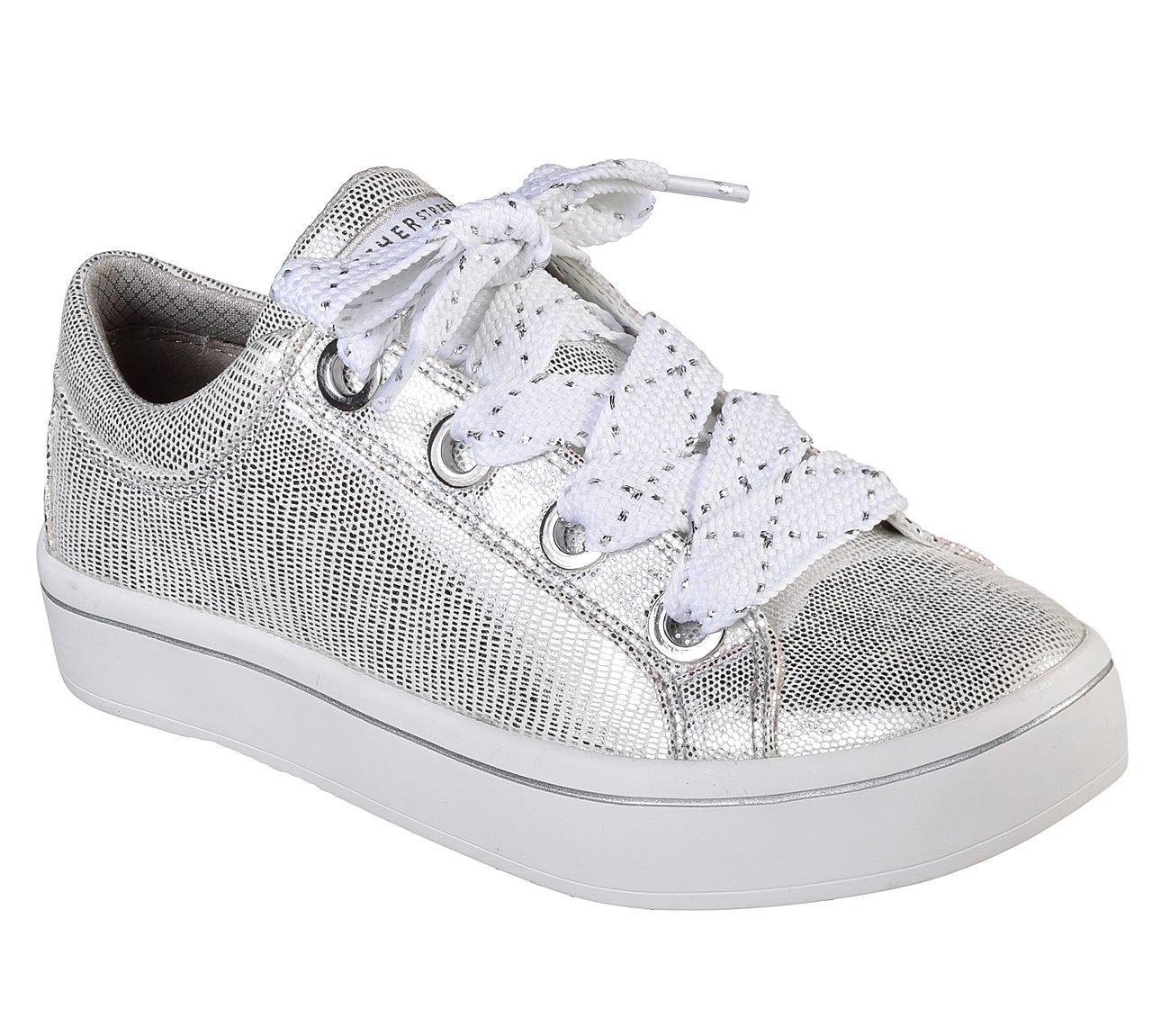 Skechers Women's Hi-Lite-Reptile Metallic Sneaker B075ZXV99D 5 B(M) US|White/Silver