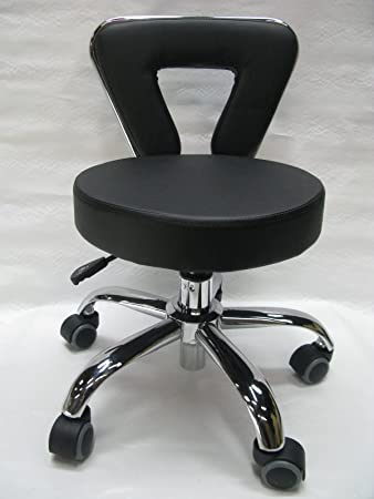 Superbe Spa Chair Pedicure Stool For Nail, Hair, Facial Technician (Short, Black)