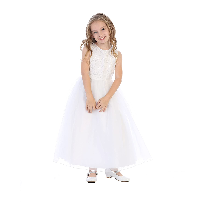 Amazon.com: Big Girls White Sequined Tulle Plus Size Flower ...