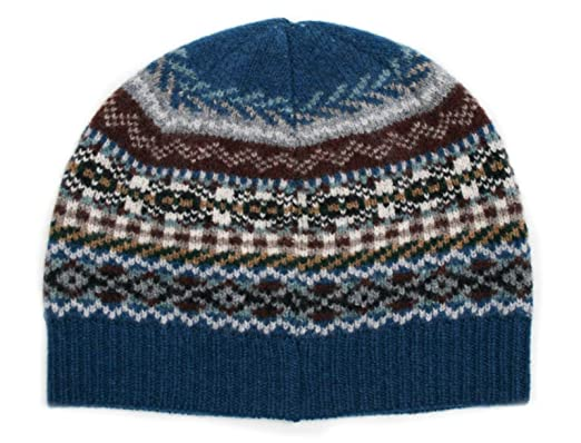 Men's Lambswool Fairisle beanie hat Lochinver Blue - Made in ...