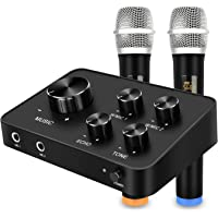 Portable Karaoke Microphone Mixer System Set, with Dual UHF Wireless Mic, HDMI & AUX in/Out for Karaoke, Home Theater…