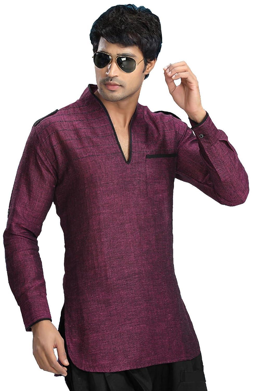 Amazon.com: Indian Clothing Fashion Shirt Mens Short Kurta Linen ...