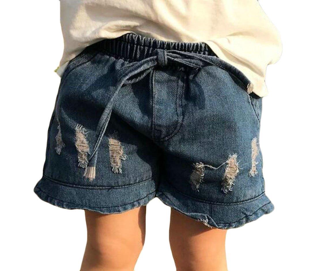 Cromoncent Girl' Elastic Waist Destructed Fashion Ruffled Soft Hot Denim Shorts Blue 3T