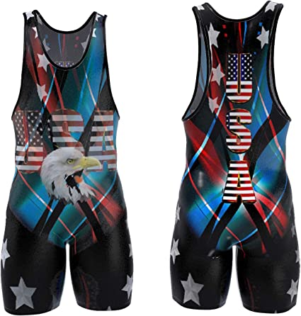 Workout Power Lifting Singlets: Red with Black Trim Wrestling Cross-fit