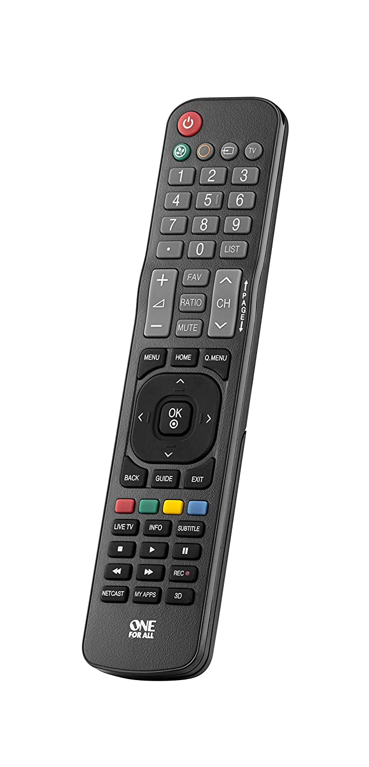 One For All LG TV Replacement Remote – Works with All Lg Televisions (LED, LCD, Plasma) – Ideal TV Replacement Remote Control with Same Functions as The Original Lg Remote - Black – Urc1811