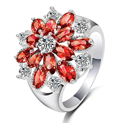 Amazon Com For Happy Valentine S Day Gift Ring Fashion Red Flowers