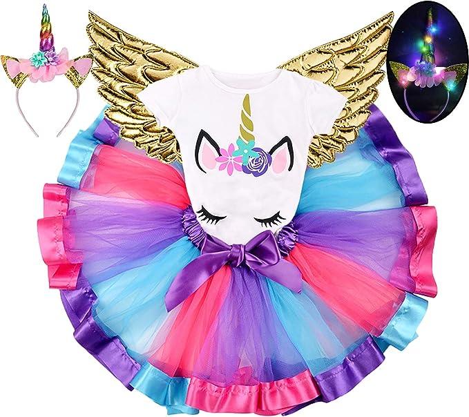 Vestido de unicornio con alas y tutú arcoíris, faldas de unicornio ...