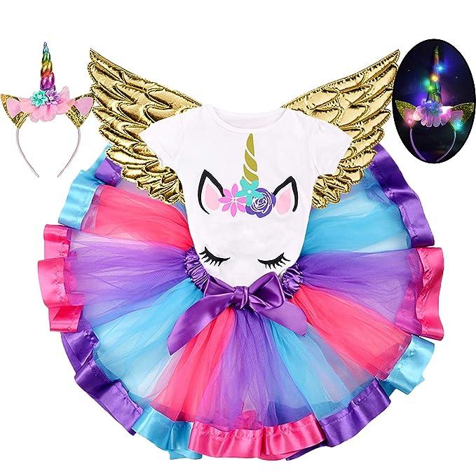 Amazon.com: Vestido de unicornio con alas para niñas y bebés ...