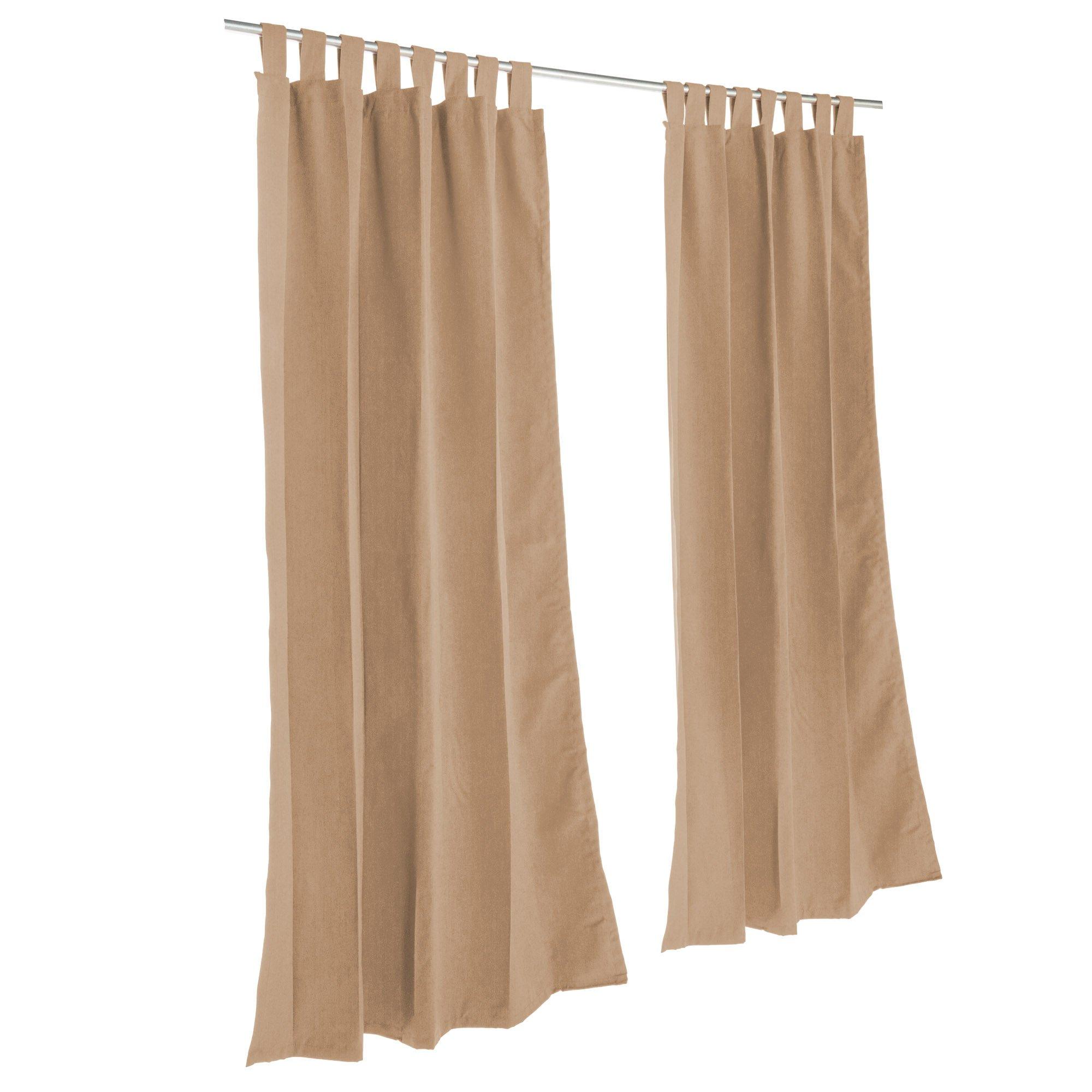 Pawleys Island Sunbrella Outdoor Gazebo Tabbed Solid Curtain Panel Canvas Cocoa 50'' x 120''